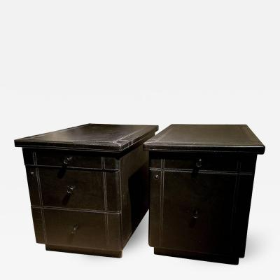 Guido Faleschini Pair of Guido Faleschini for Pace Leather File Cabinets