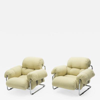 Guido Faleschini Rare Pair of Italian Tucroma armchairs by Guido Faleschini for Mariani 1970s