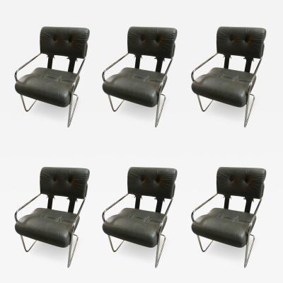 Guido Faleschini Six Tucroma Pace Chairs in Grey Leather by Guido Faleschini