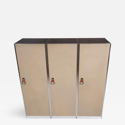 Guido Faleschini Three 1970s Leather Clad Wardrobe Cabinets by Guido Faleschini for I4 Mariani