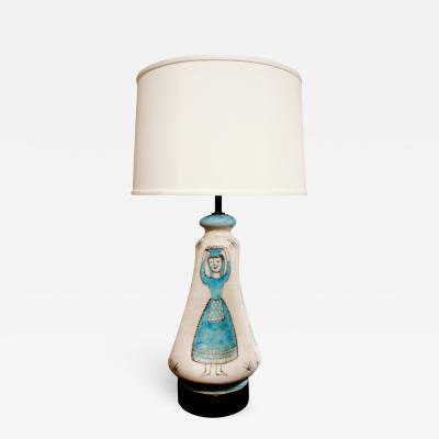 Guido Gambone C A S Vietri Ceramic Table Lamp with Figural Motif 1950s