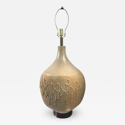 Guido Gambone Dramatic Ceramic Table Lamp in the style of Guido Gambone Circa 1950