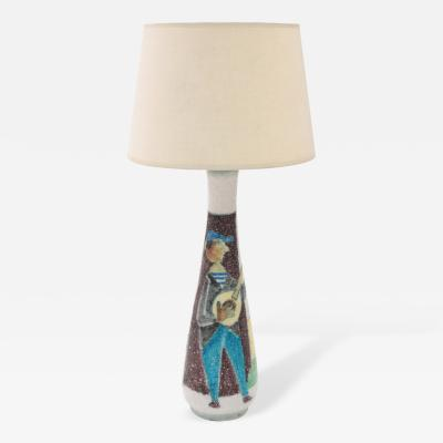 Guido Gambone Exceptional Ceramic Table Lamp by Guido Gambone