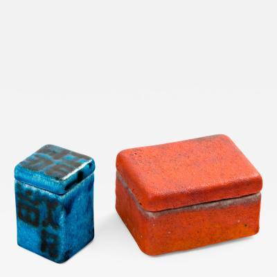 Guido Gambone Guido Gambone Ceramic Trinket Lidded Boxes 1950s
