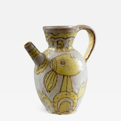 Guido Gambone Italian Glazed Stoneware Pitcher by Guido Gambone