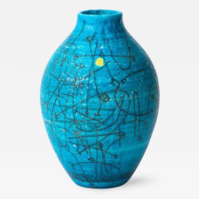 Guido Gambone Large 1950s Guido Gambone Esoteric Ceramic Vessel in Stunning Mediterranean Blue
