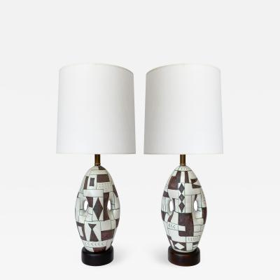 Guido Gambone Pair of Guido Gambone Ceramic Table Lamps Signed