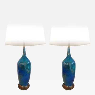 Guido Gambone Pair of Tall Ceramic Lamps Attributed Guido Gambone
