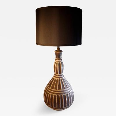 Guido Gambone Striped Ceramic Lamp by Guido Gambone