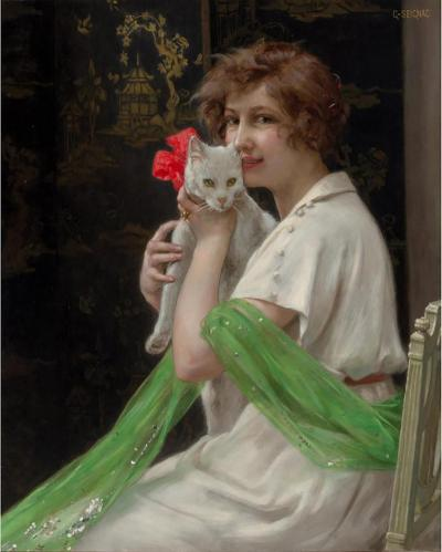 Guillaume Seignac Guillaume Seignac Oil on Canvas Good Friends Beauty with Kitten Painting