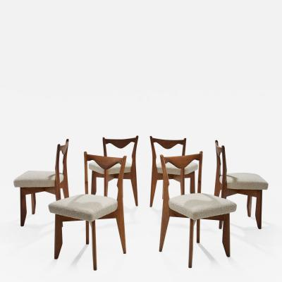 Guillerme et Chambron 6 Dinner Chairs by Guillerme et Chambron France 1960s