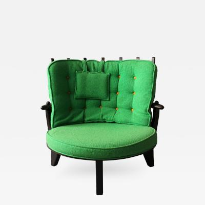 Guillerme et Chambron French 1950s Tricoteuse Armchair by Guillerme et Chambron