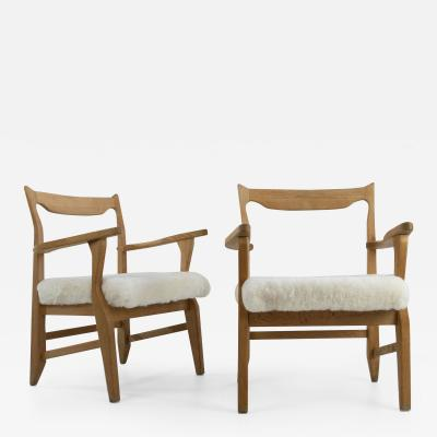 Guillerme et Chambron French Guillerme et Chambron Armchairs Hungarian Oak Lambskin