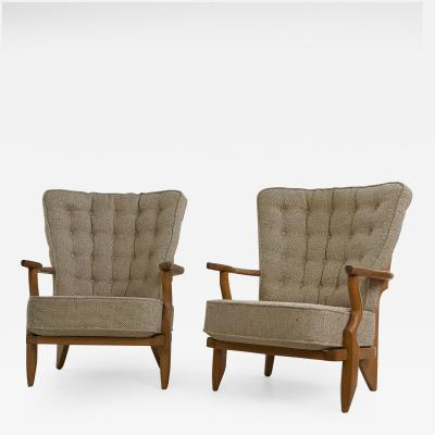 Guillerme et Chambron French Guillerme et Chambron Armchairs Hungarian Oak Wool