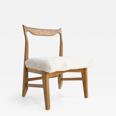 Guillerme et Chambron French Guillerme et Chambron Armless Chair Hungarian Oak Lambskin