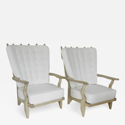 Guillerme et Chambron French Pair of Grand Repos Lounge Chairs by Guillerme et Chambron Votre Maison