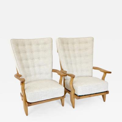Guillerme et Chambron GRAND REPOS FRENCH OAK LOUNGE CHAIRS BY GUILLERME ET CHAMBRON FOR VOTRE MAISON