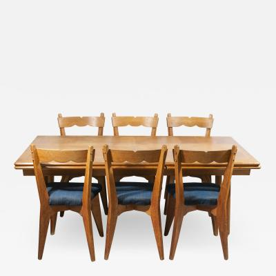Guillerme et Chambron Guillerme Chambron Dinner Table and Set of Six Chairs France circa 1950