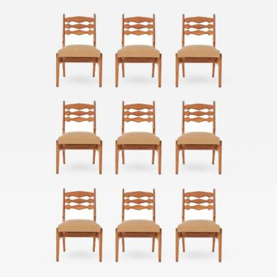 Guillerme et Chambron Guillerme Chambron Set of Nine Solid Oak Dining Chairs