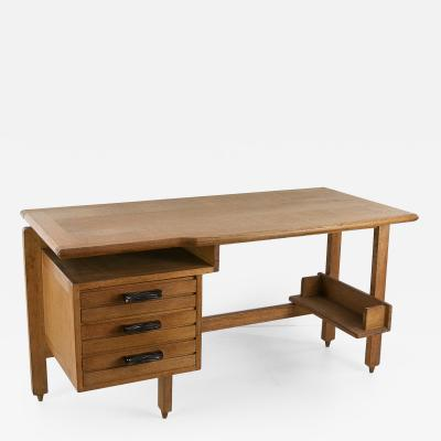 Guillerme et Chambron Guillerme and Chambron 3 Drawers Oak Desk with Ceramic Handles