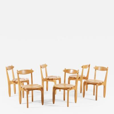 Guillerme et Chambron Guillerme and Chambron Set of 6 Thierry Dining Chairs for Votre Maison 1960