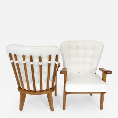 Guillerme et Chambron Guillerme et Chambron French Natual Oak Lounge Chairs White Belgian Linen
