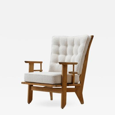 Guillerme et Chambron Guillerme et Chambron Oak Lounge Chair France 1950s
