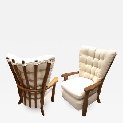 Guillerme et Chambron Guillerme et Chambron pair of finger lounge chairs fully restored