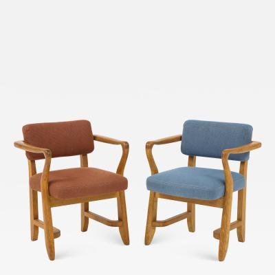 Guillerme et Chambron Oak Bridge armchairs by Guillerme et Chambron for Votre Maison France 1950s