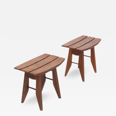 Guillerme et Chambron Oak Tabourets by Guillerme Chambron for Votre Maison