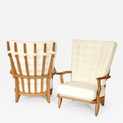 Guillerme et Chambron Pair of French Oak Grand Repos Lounge Chairs Guillerme et Chambron Votre Maison