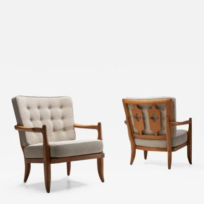 Guillerme et Chambron Pair of Jose Armchairs by Guillerme et Chambron France 1950s