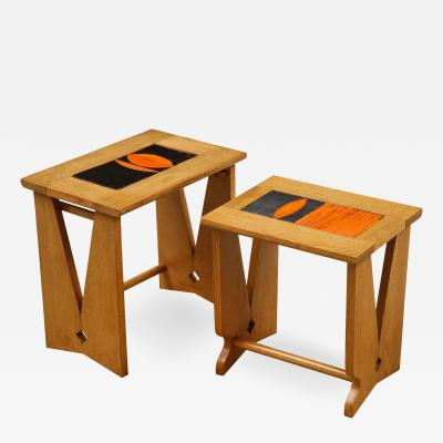Guillerme et Chambron Pair of Nesting Tables with Tiles