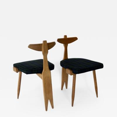 Guillerme et Chambron Pair of Oak Side or Vanity Tripod Sculptural Chairs by Guillerme et Chambron
