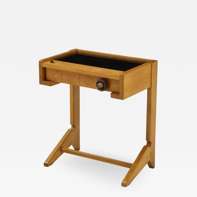 Guillerme et Chambron Sculptural Oak and Black Glass Side Table