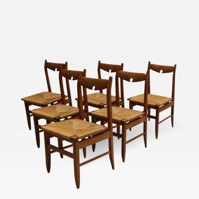Guillerme et Chambron Set of Six French Mid Century Dining Chairs by Guillerme et Chambron