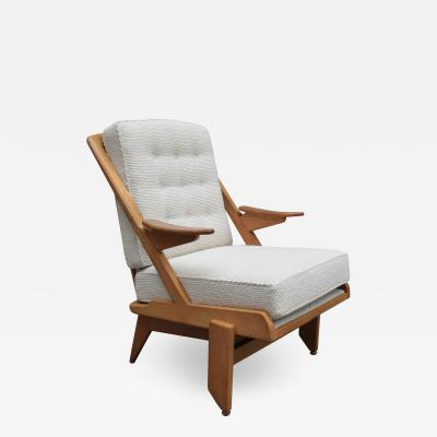 Guillerme et Chambron Single oak armchair by Guillerme et Chambron