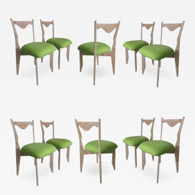 Guillerme et Chambron Ten Cerused Oak Dining Room Chairs by Guillerme Chambron