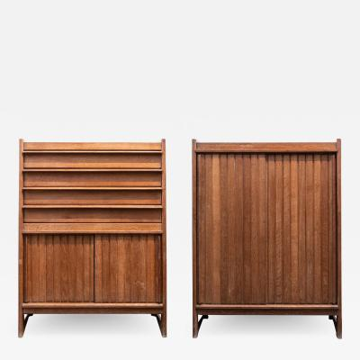 Guillerme et Chambron pair of oak cabinets by Guillerme et Chambron