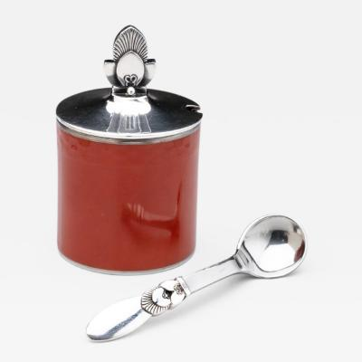 Gundorph Albertus Georg Jensen Cactus Mustard Pot Spoon with Royal Copenhagen Red Pot