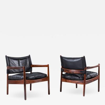 Gunnar Myrstrand Scandinavian Leather and Rosewood Lounge Chairs by Gunnar Myrstrand Sweden