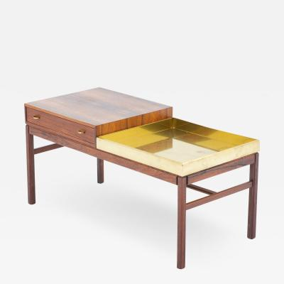 Gunnar Myrstrand Sven Engstr m Scandinavian Flower Table Casino in Rosewood and Brass by Engstr m Myrstrand