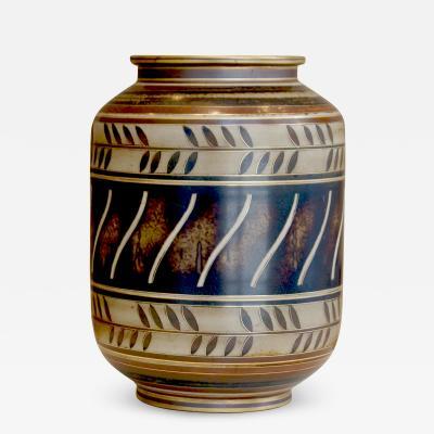 Gunnar Nylund Albarello Form Vase in Bronze Tones with Sgraffiito Details by Gunnar Nylund