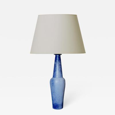 Gunnar Nylund Elegant Tall Table Lamp in Speckled French Blue by Guinnar Nylund