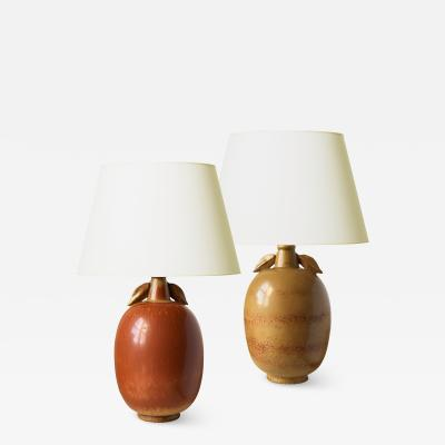 Gunnar Nylund Exotic Fruit Table Lamps in Burnt Sienna and Gold by Gunnar Nylund