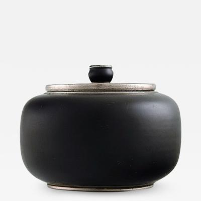 Gunnar Nylund Gunnar Nylund for ALP Lidk ping Art deco ceramic lidded jar with silver inlay