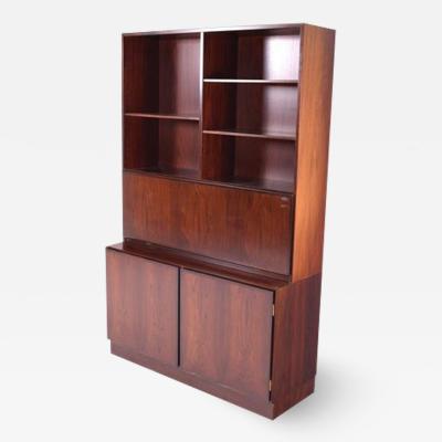 Gunni Omann Midcentury Gunni Omann Rosewood Drop Desk Cabinet Bookcase