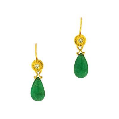 Gurhan Gurhan Emerald and Gold Earrings