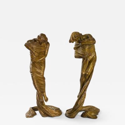 Gustav Gurschner Austrian Jugendstil Bronze Candelsticks