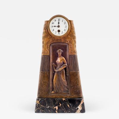 Gustav Gurschner Gustav Gurschner Table Clock Godess of Victory Nike 1913 K K Kunstgie erei